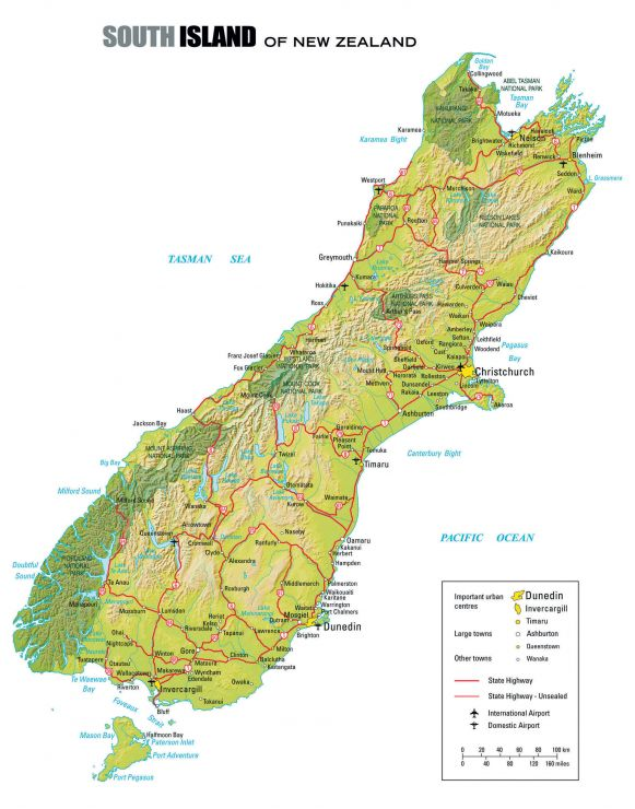 Road Map Of South Island Of New Zealand.When To Go To New Zealand